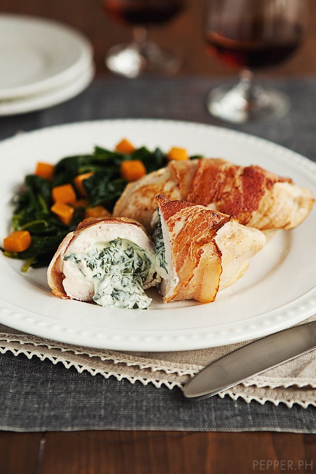 Bacon-wrapped Chicken with Spinach Cream Cheese
