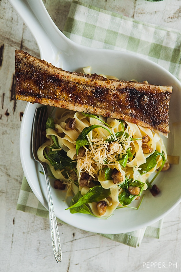 ... ' Bone Marrow with Roasted Bone Marrow Butter Pasta and Arugula