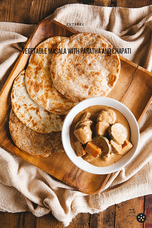 Vegetable Masala with Paratha and Chapati1