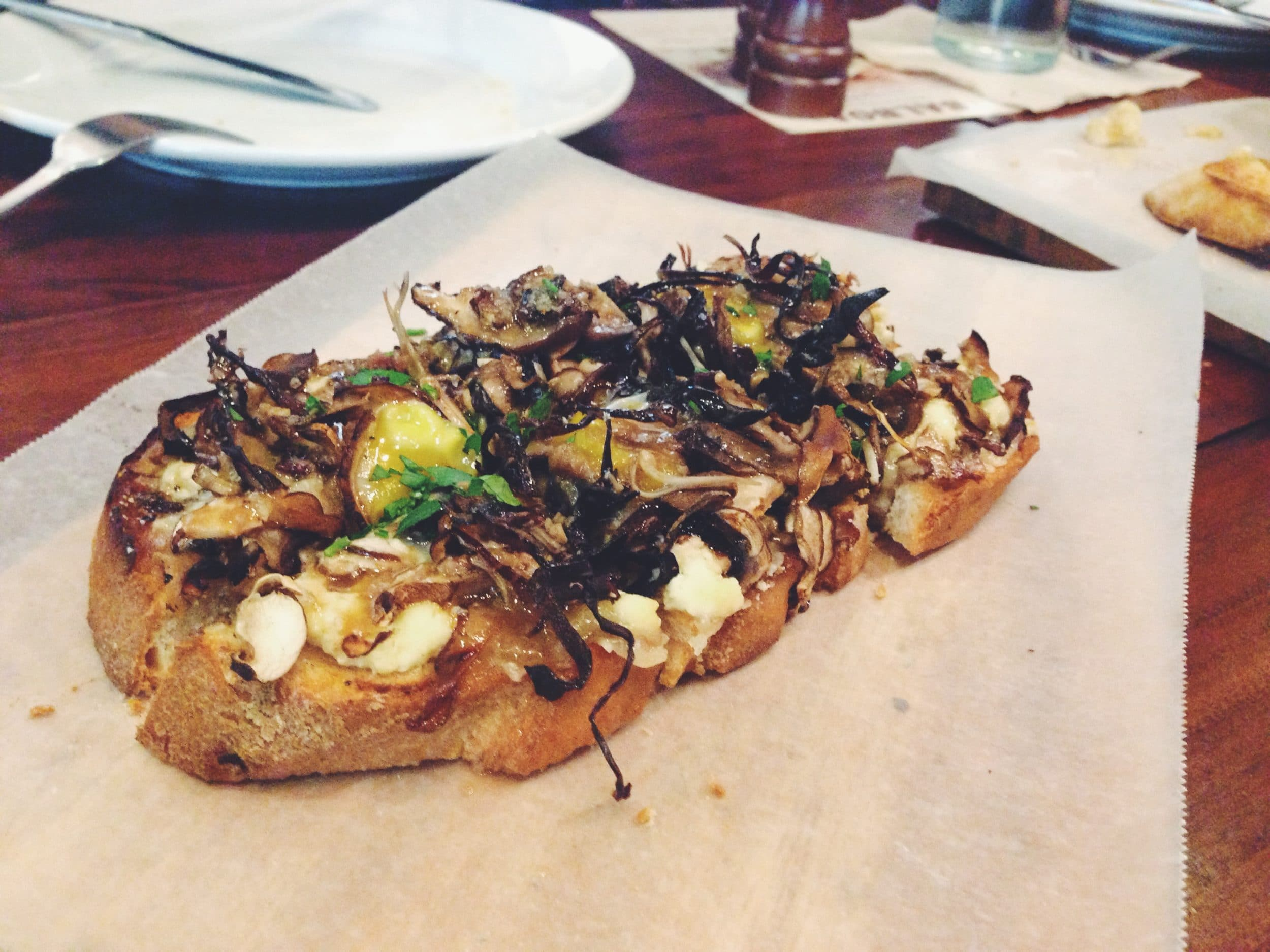 Organic mushrooms and quail eggs, house made ricotta (PHP 210)