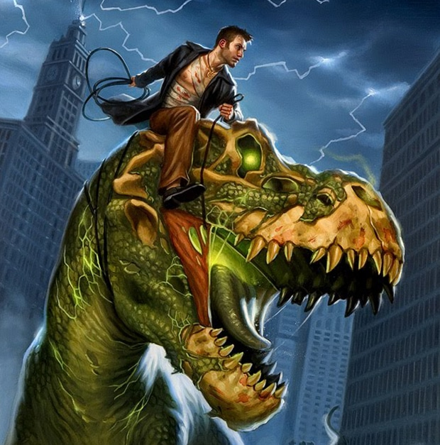 I couldn't find a picture of the pub so here's Harry Dresden on a zombie t-rex instead.