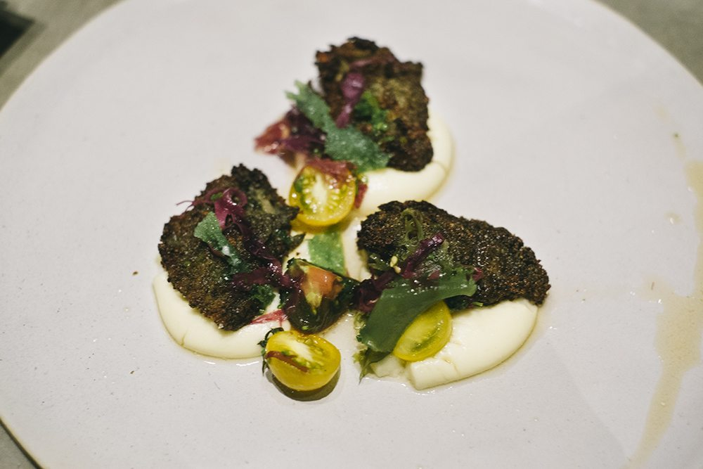 Oysters: Pan-fried, heirloon tomato, seaweed, aerated polenta, PHP 460