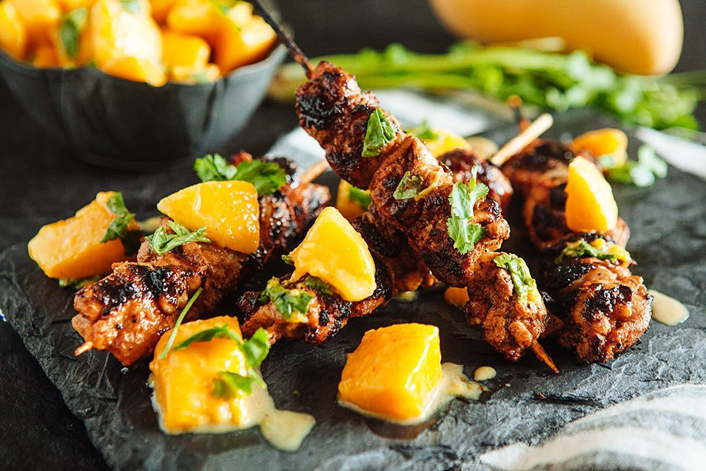 Yogurt Marinated Chicken Kebabs with Mango Chutney4